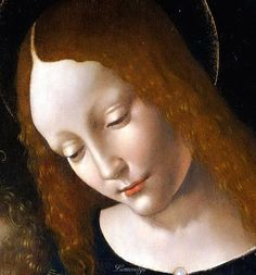 Leonardo da Vinci,( Studio of) Madonna and Child (detail)