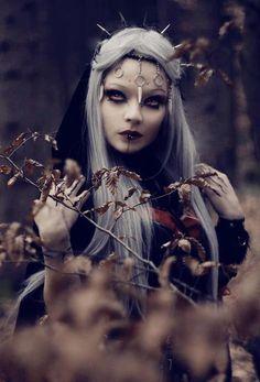Autumn goth beauty girl makeup outdoors nature autumn halloween gothic