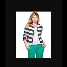 Gap horizontal stripe zippered jacket Horizontal stripes.  Zippered.  Pockets.  Lined. GAP Jackets & Coats Blazers