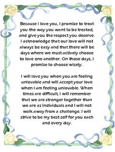 Wedding vows brides grooms bridesmaids groomsmen parents wedding vows im not pinning this because im getting married anytime soon but because these are wonderful words to live by for everyone junglespirit Gallery