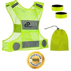Reflective Vest for Running or Cycling-Including Two Safety Reflector Bands-High Visibility Reflective Running Vest Gear-Safety Vest Reflective with Zip Pocket( Dog Walking,Motorcycle,Jogging, Hiking) Find out more about the great product at the image link.
