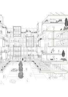 Social Housing Architecture, University Architecture, Architecture Graphics, Architecture Drawings, Concept Architecture, Residential Architecture, Architecture Details, Atrium Design, Facade Design