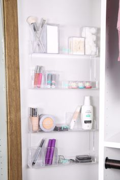 Home Organization- DIY Minimalist Makeup Organization, organizing, organized makeup, beauty organization, decluttering, minimal, simple makeup organization, spice rack, the container store, organization hack, acrylic organizers, makeup placed in spice rack organizer