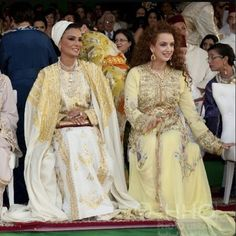 HH Sheika Moza of Qatar and HRH Princess Lalla Salma of Morocco at the wedding of HRH Prince Moulay Rachid of Morocco to Oum Keltoum at the Royal Palace in Rabat, Nov. 2014.