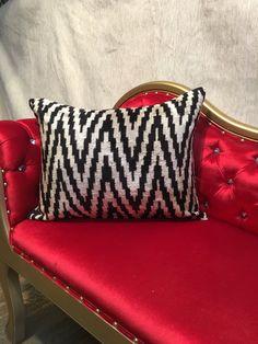 Uzbek Pure Silk  Velvet Ikat Handcrafted Fabric-BAKHMAL-  Pillow Cushion  Cover  15.78'' x 19.68'' with silk ikat purse SKU NO : 14209 by TimelesstradesLLC on Etsy