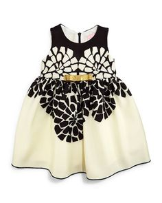 Sleeveless Geo-Floral Party Dress, Black/Cream, Size 12-24 Months by Zoe at Bergdorf Goodman.