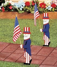 New Uncle Sam Patriotic Lawn Decoration Flag Yard Garden Lawn American Decor 2PC