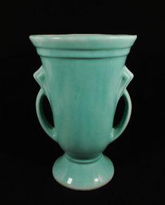 Shawnee Pottery USA Green Art Deco Two Handle Vase