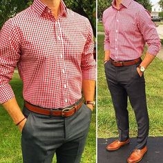 Red gingham button-down collared , dark grey trousers, Honey Brown dress shoes