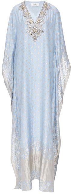Badgley Mischka Light Blue Embroidered V-Neck Caftan Light Blue on shopstyle.com.au