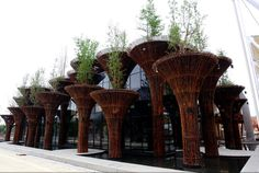 World Architecture Community News - Perfect bamboo columns of Vietnam Pavilion rised at Expo Milano 2015 Expo 2015, World's Fair, Vietnam, Bamboo, Around The Worlds, Photos, Landscape, Columns, Voici
