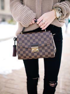 Louis Vuitton Dark Brown Croisette Damier Azur Bag
