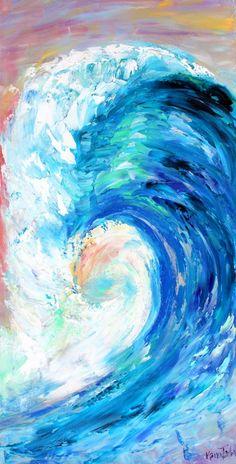 La pintura al óleo Original de onda a mi serie océano arte de Karen Título: La ola Pintura al óleo original por Karen Tarlton Tamaño: 12 x 24 x 1.5 caras pintadas y listas para colgar. Pintura barnizada para la protección y mejora Firmado en mano certificado de autenticidad incluido
