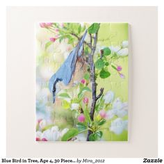 Blue Bird in Tree Age 4 30 Pieces Make Your Own Jigsaw Puzzle Custom Gift Boxes, Customized Gifts, Bird Tree, Make Your Own Puzzle, Puzzles For Kids, Blue Bird, High Quality Images, Pink Flowers, Your Design