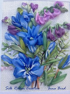 Spring Wild Gentiana Silk Ribbon Embroidery Card