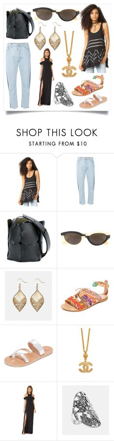 """Fashion for amazing"" by denisee-denisee ❤ liked on Polyvore featuring Free People, RE/DONE, Paco Rabanne, RetroSuperFuture, Avenue, Elina Linardaki, Ancient Greek Sandals and Halston Heritage"