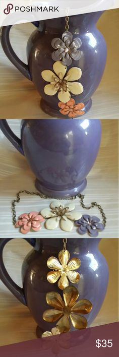 Vintage Painted Enamel Metal Flower Necklace Three Vintage Painted Enamel Metal Flowers Necklace. Large cream colored flower in the middle with a smaller flower on each side. Great condition. Jewelry Necklaces