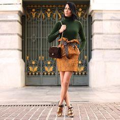 Turtleneck, Skirt, Sneakers, Chanel Bag, Louis Vuitton Belt
