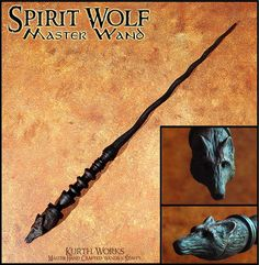 Professional wand maker KurthWorks brings us this beautiful wolf-themed piece . Wizard Staff, Wizard Wand, Hogwarts, Slytherin, Wolf, Wooden Wand, Witch Wand, Harry Potter Wand, Fantasy Weapons