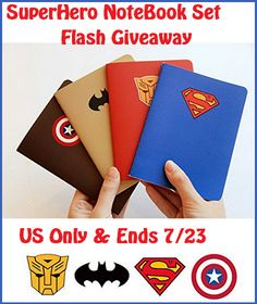 Superhero Theme Notebook Set Flash Giveaway