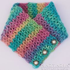 DIY Free Pattern and YouTube Video Tutorial Crochet Oh My Stars Scarf - Puffy Flower Star Stitch - by Donna Wolfe from Naztazia