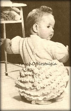 Crochet FRILLY ROMPER Pattern Frilly RUFFLES Romper/Incls Knit Blouse/Crochet Booties Ptrn / Baby&Toddlers Sizes: 6 mos/1yr-18 mos/2 yrs