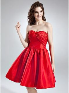 A-Line/Princess Sweetheart Knee-Length Ruffle Bow(s) Zipper Up Strapless Sleeveless Red Spring Summer General Plus Taffeta Cocktail Dress