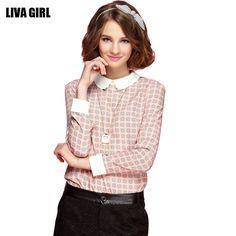 Fashion Vintage Spring Summer Women Blouses Long Sleeve Peter Pan Collar Chiffon Blouse Casual Print Blusas on http://ali.pub/fruyg
