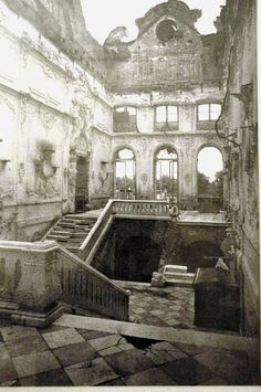 Pictured is the grand staircase of the Catherine Palace in 1944 as it was found by Soviet Forces after the retreat of the Nazi occupiers. Today it has been restored, as has much of the immense Catherine Palace.