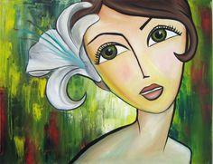 Original 16x20 Oil painting on canvas Green Eyes by artbycheyne, $120.00