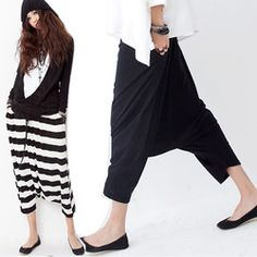 Online Shop Women Low Crotch Haroun Harem Pants Cropped Baggy Hip hop Striped Trousers Freeshipping|Aliexpress Mobile