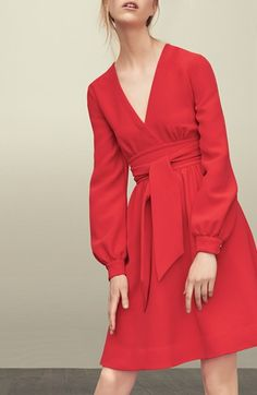 Free shipping and returns on kate spade new york long sleeve tie dress at Nordstrom.com. <p>This lush red dress is a cheery addition to a workweek wardrobe, but it has enough sass to make a weekend appearance as well. A faux-wrap front and opulent bishop sleeves give this dress a distinct '70s flair, while a versatile tie (worn to the front or back) defines your waistline. </p>