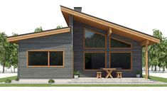 Narrow house plan with four bedrooms, modern architecture, Narrow House Plans, Garage House Plans, House Plans One Story, Barn House Plans, New House Plans, Dream House Plans, House Floor Plans, Modern Floor Plans, Contemporary House Plans