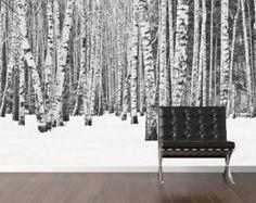 Forêt en hiver murales repositionnable peel & bâton par StyleAwall