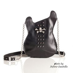 Leather purse.  Handmade Eco Sustainable Leather Bag. Black Studded Guitar Shaped Bag. Strato Bag. Skull Purse. Crossbody bag. MADE TO ORDER...