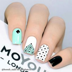 Nail art | White, turquoise and black | Unhas decoradas com verde turquesa e preto
