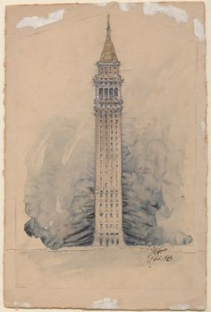 Preliminary drawing of Sather Tower, 1903, by architect John Galen Howard. At one point, apartments were considered for the UC Berkeley landmark.