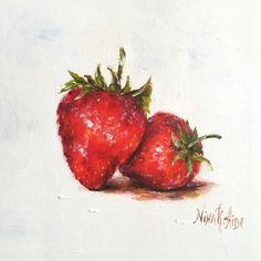 Strawberries Original Oil Painting Nina R.Aide 6x6 canvas Fine Art Gallery Kitchen Art Small Painting Daily by NinaRAideStudio on Etsy