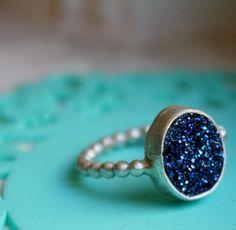Dark Blue drusy ring! Yummm.