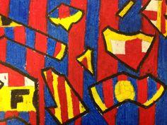 abtract logo design; soccer logo broken down by art elements; oil pastel