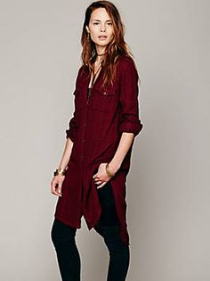 Free People Solid Double Cloth Buttondown Tunic, $88.00