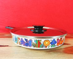 Vintage enamel frying pan with cover Acapulco Villeroy & Boch Mid.Century 70s