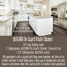 Paste Cleaner: cup baking soda 2 Tablespoons On Guard… Baking Soda Clay, Baking Soda Cleaner, Essential Oils Cleaning, Essential Oil Uses, Stainless Steel Sink Cleaner, Clean Pots, Doterra Recipes, Doterra Essential Oils, Doterra Onguard