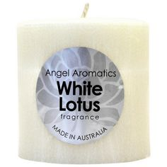 White Lotus Pillar Candle - Ivory by Angel Aromatics   White Lotus Pillar Candle - Ivory. The product link is http://www.angelaromatics.com.au/all/White-Lotus-Pillar-Candles-Ivory
