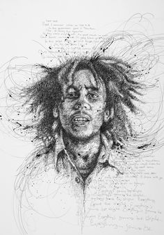Portraits Of Famous Film Stars & Musicians Made From Tiny, Energetic Scribbles - DesignTAXI.com