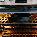 Heat the skillet under the broiler 20 minutes before cooking: Turn on your oven's broiler and place an oven rack 6 to 8 inches below the broiler element. Put the skillet on the rack to heat up with the oven.