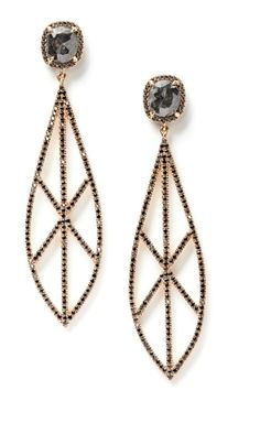 Black Diamond Spear Earrings by Eva Fehren