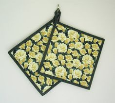 Quilted Potholders Set of Two  Fields of Yellow Roses by ISewTotes