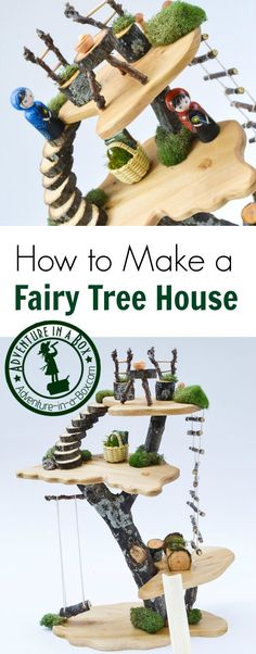 DIY Project: How to Make a Toy Tree House For a quirky Waldorf-inspired uptake on a dollhouse, make a tree fairy doll house for kids from branches, wood and other natural materials! Diy 2019, Fairy Tree Houses, Toy Trees, Wood Projects For Kids, Craft Projects, House In Nature, Fairy Crafts, Twig Crafts, Fun Crafts