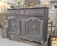French Provincial vintage server/buffet..redone with Annie Sloan Chalk paint in a mix of Graphite and French Linen..Old White wash..see more at Reclaimed and Lovely on fb and IG